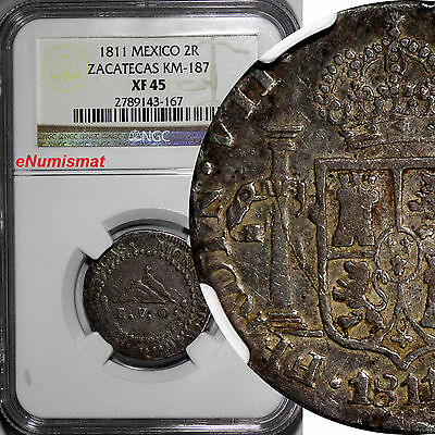 Mexico ZACATECAS Silver 1811-LVO 2 Reales NGC XF45 TOP GRADED BY NGC KM# 187