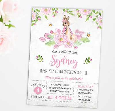 Girl Rabbit Invitation Pink Floral 1st Birthday Baby Shower Party Invite Baptism