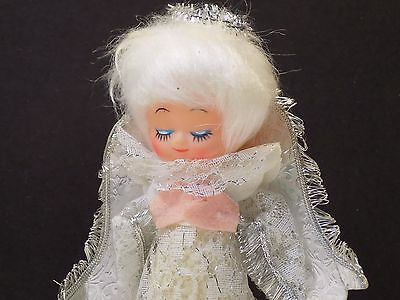 Sweet Vintage 50's Silver Tinsel Lace White Haired Angel Feather Tree Topper VGC