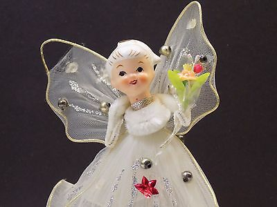 Vintage 1950's Ceramic Head Angel Feather Tree Topper Mercury Glass Tulle CUTE!