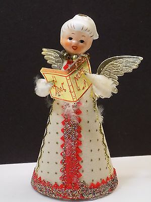 Vintage 1950's Holt Howard Ceramic Head Angel Mercury Glass Christmas Ornament