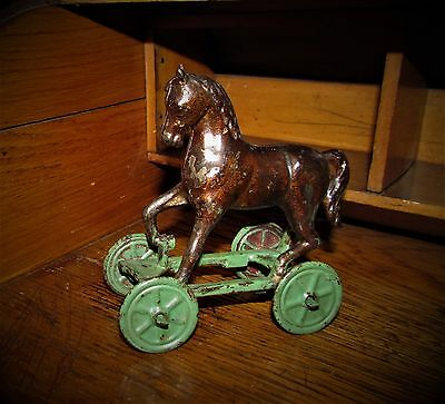 Antique Vtg 1930 Williams Dime Store Cast Iron Toy Horse on Wheels Penny Bank