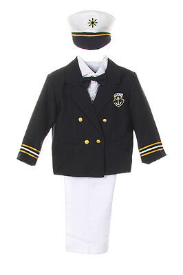 Baby Boy Toddler Formal Party Captain Sailor Suit +Hat Outfits New Born- 7 Years