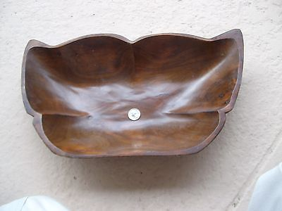 """Vintage """"huge"""" Hand Crafted Burl Walnut Butterfly Shape Salad Bowl-17 1/4 Inches"""