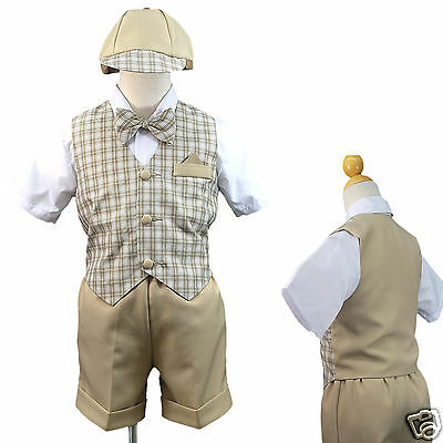 New Boy Baby & Toddler Formal Wedding Party Eton Vest Suit New born to 4T Khaki