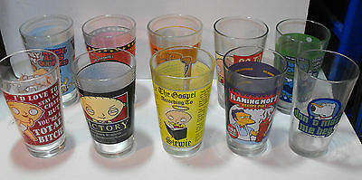 10 FAMILY GUY Collector Pint Glasses Stewie Quagmire Peter Brian HTF FLAMING MOE