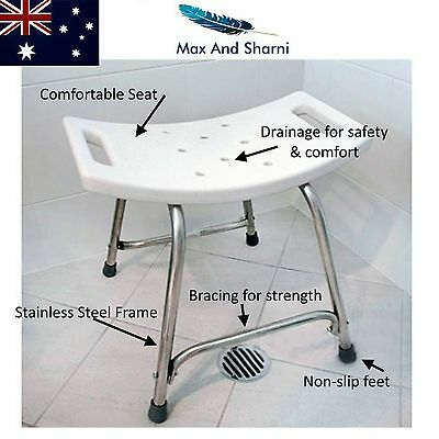 Non Slip Bath and Shower Safety Seat Stool Stainless Steel frame 150Kg Capacity
