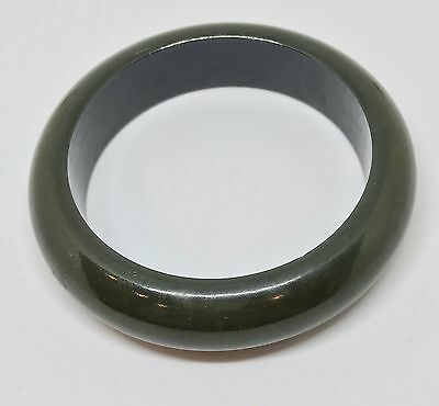 Fabulous Green Spinach Wide Shiny Chunky Bakelite Bangle Bracelet Free Shipping