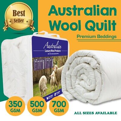 AUSTRALIAN WOOL Quilt Winter/Summer Duvet 350/500/700GSM Weight Luxury ALL SIZE