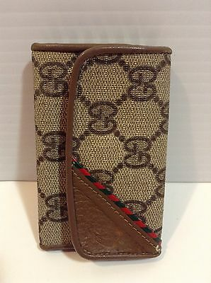 Vintage GUCCI Key Holder Wallet Case Red Green On Front Great Condition