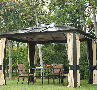 Outsunny 11.5' x 9.3' Hard Top Gazebo Deluxe Roof with Mosquito Netting Curtains