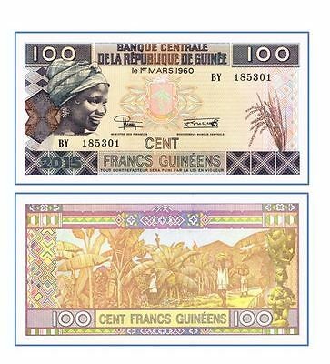 Guinea 100 Francs 2015 2016 Sign Reduce P New Unc