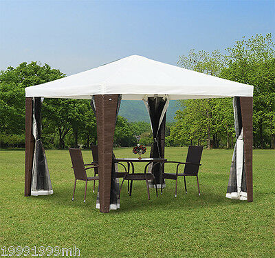 Outsunny 10x10ft Outdoor Rattan Wicker Gazebo Tent Canopy Shelter Mesh Sidewalls