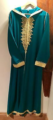 Ladies Moroccan Djellaba Kaftan With Hood - Teale Colour - Medium Size