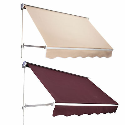 Outsunny 6' Drop Arm Manual Retractable Window Awning Canopy Shelter Sunshade