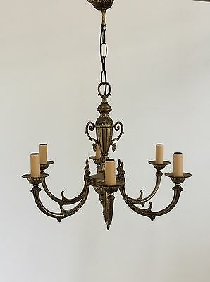 Elegant Antique Style 6 Arm Brass Chandelier with Classical Detailing