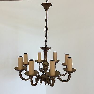 French Antique Style 8 Arm Decorative Brass Chandelier