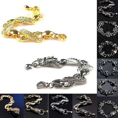 1x Trendy Rock Men Cross Skull Dragon Wolf Head Design Bracelets Bangles Jewelry