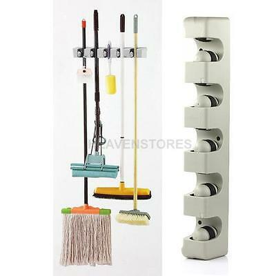 5 Racks Kitchen Storage Brush Mop Broom Holder Organizer Tool Wall Mount Hanger