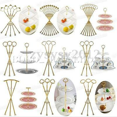 1/5set 2 3 Tier Plate Cake Stand Heavy Metal Center Handle Fitting Hardware Rod