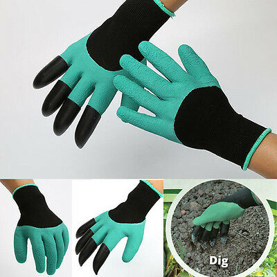Rubber Polyester Builders Work Latex ABS Plastic Claws Hoom Garden Gloves 1Pair