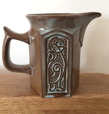 Retro TYN LLAN Studio pottery Welsh Hexagonal cream jug Celtic bird design 10cm