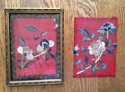 Two  x Old Chinese Embroidery. Flowers / Floral. Vintage / Antique.