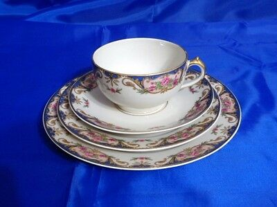 HAVILAND LIMOGES 4 Piece Lunch Setting CHF110 Pink Roses BLUE INSETS Tan Scroll
