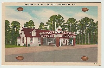 S.C. Shannon's Pecans and Esso On US 15 Society Hill Linen Postcard - Unposted