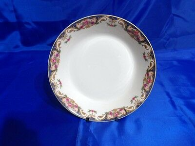 HAVILAND LIMOGES Coupe Soup Bowl CHF110 Pink Roses BLUE INSETS Tan Scroll