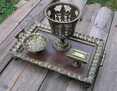 Antique / Vintage Wood and Brass Ornate Smoking / Smokers Tray / Lion Feet