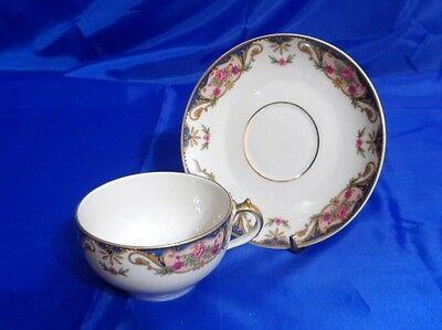 HAVILAND LIMOGES Flat Cup & Saucer Set CHF110 Pink Roses BLUE INSETS Tan Scroll