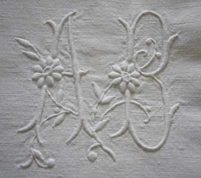 Antique French linen sheet hand embroidered