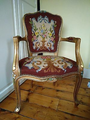 Louis XV style chair, tapestry fabric, painted detail.
