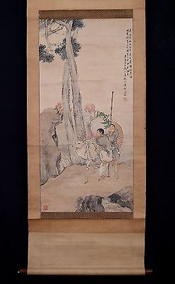 Very Long Old Chinese Scroll Hand Painting Figures Marked ShenZhaoYong PM002