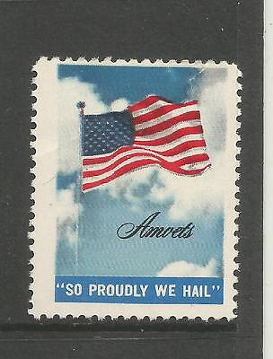 """USA AMVETS """"SO PROUDLY WE HAIL"""" patriotic stamp/label"""