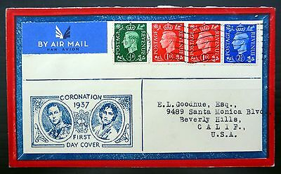 GB 1937 G.VI on Airmail Souvenir FDC to USA FP9281