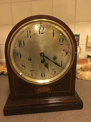 Magnificent  Mahogany Cased Domed Top Junghans Westminster Chimes Clock
