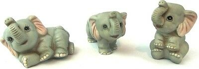 Gray Baby ELEPHANTS Homco Bisque Porcelain 3 Figurine Set #1400 Cute Whimsical
