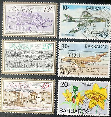 BARBADOS nice lot of 6 stamps  3-MNH,  3-used  planes flowers scenery