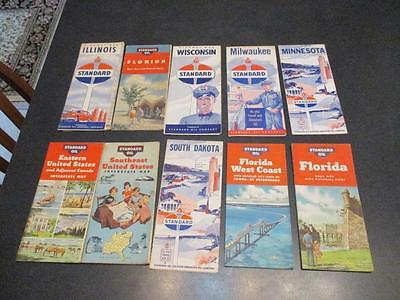 10 Vintage Standard Oil Gas Station Lithograph Road Maps