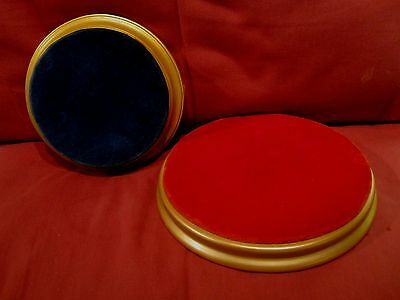 Two Quality Round Figurine Display Plinths One Blue Velvet And One Red Velvet