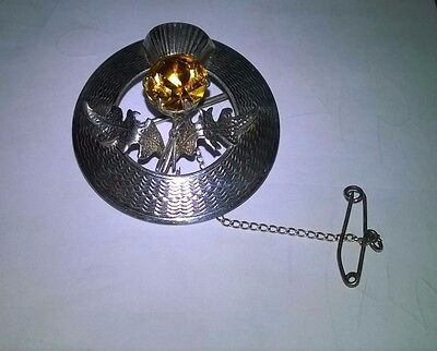 Antique Silver Scottish Thistle Brooch with Citrine Stone Marked WBs