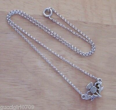 Vintage Scottish Sterling Silver Thistle Swag Necklace By Malcolm Gray (Ortak)