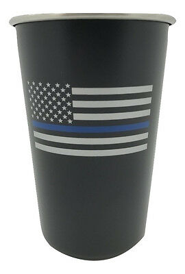 American Thin Blue Line Flag Matte Black Stainless Steel Pint Cup