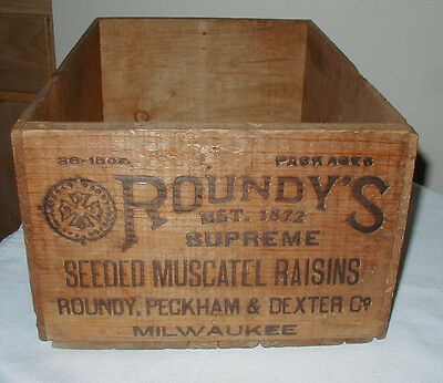 Roundy Peckham & Dexter Seeded Raisins Wooden Packing Crate Milwaukee, WI