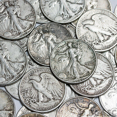 90% Silver Walking Liberty Half Dollars - $1 Face Value