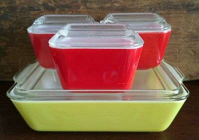Pyrex Primary Colors Yellow 503 & Red 501 Refrigerator Dishes 8 Pc Set / Box 57