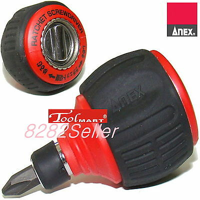 ANEX NO.306D STUBBY RATCHET SCREWDRIVER 60 gear mountains Rotate smoothly NEW