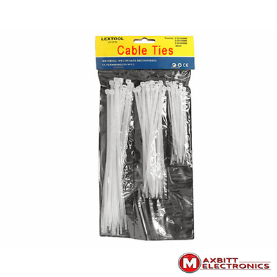 White Ties set 100,150,200 mm Tie Wrap, Cable Tidy, Ties Zip Straps